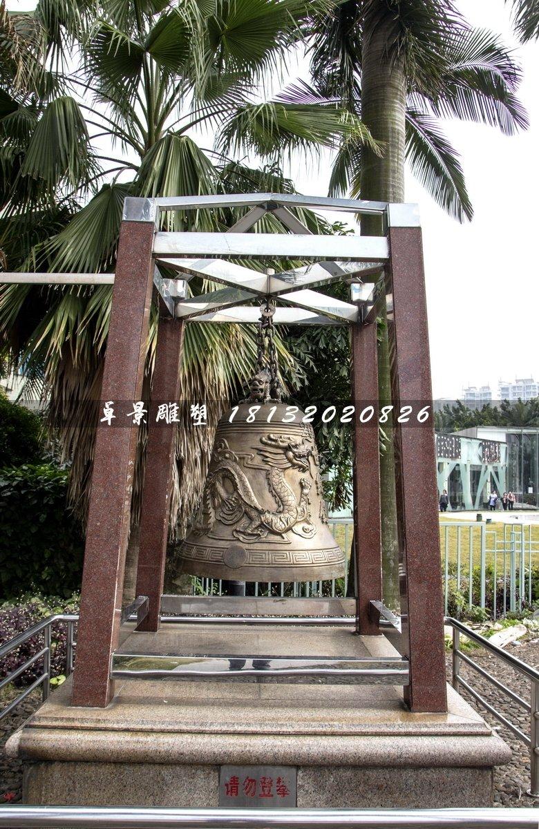 龙浮雕钟雕塑,铜钟雕塑