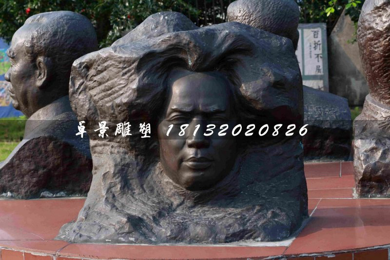 毛主席头像浮雕,伟人铜浮雕