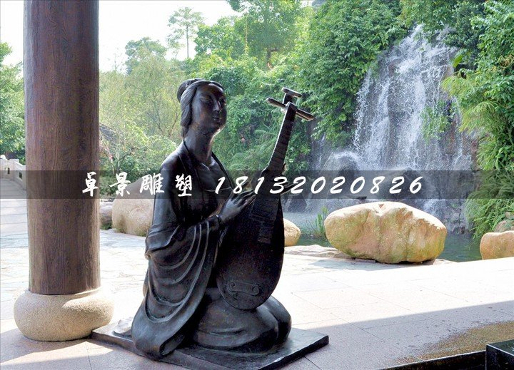 古代乐妓雕塑,公园人物铜雕