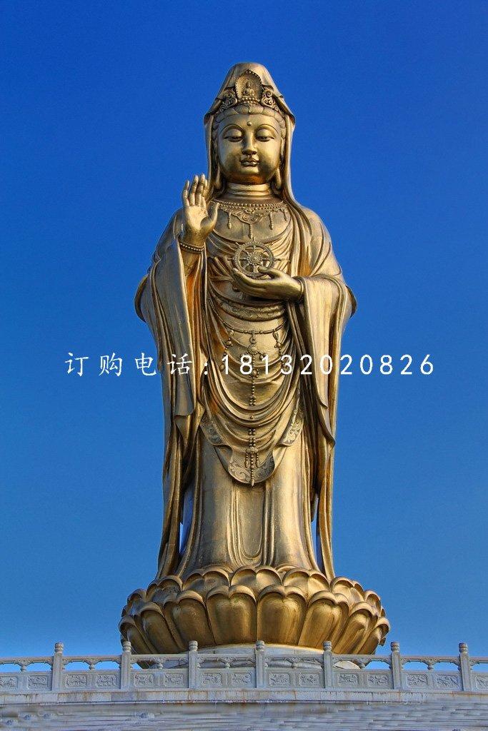 观世音铜雕,立式观音铜雕