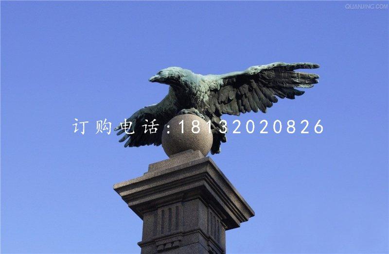 老杨踩球铜雕,青铜老鹰雕塑