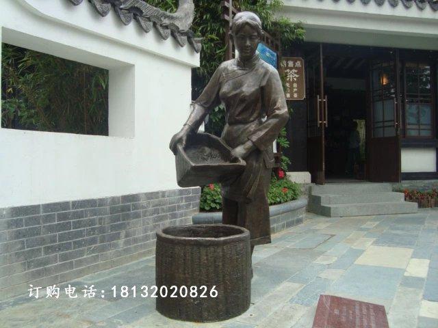 采茶铜雕,广场采茶小品雕塑