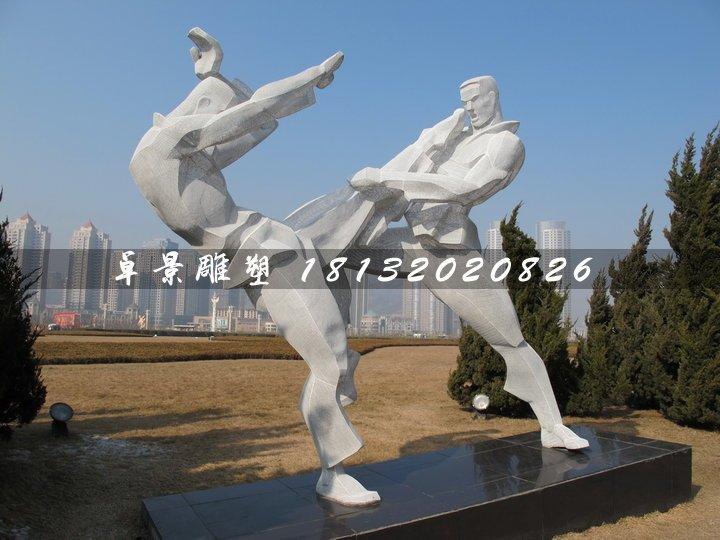武术雕塑,不锈钢抽象人物