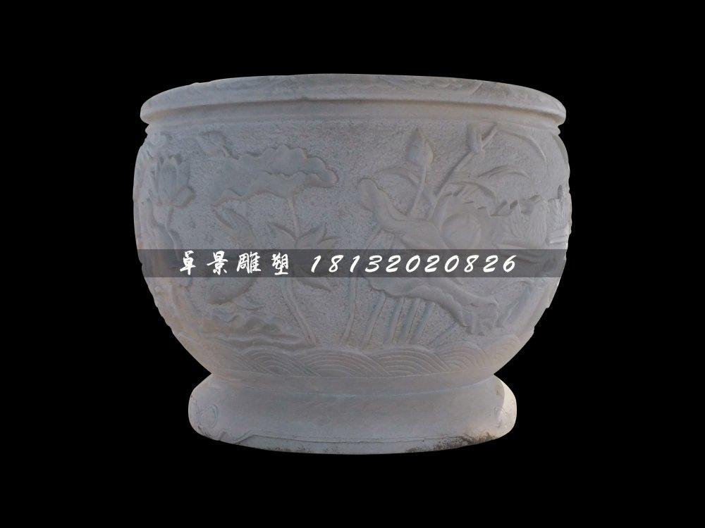 荷花浮雕水缸,圆形水缸雕塑
