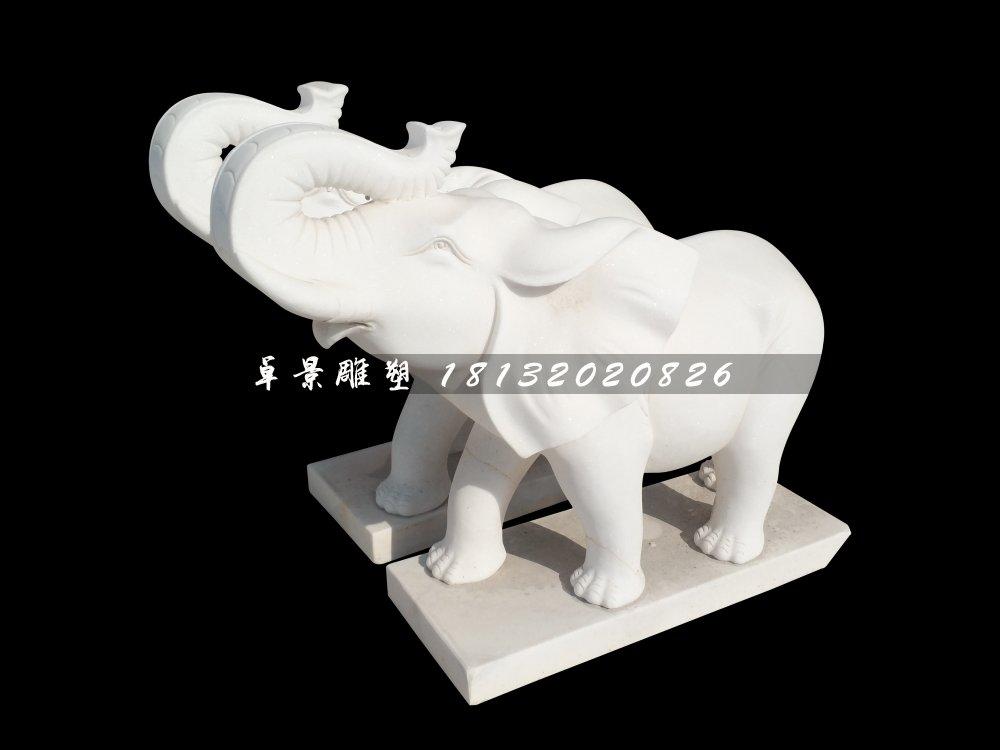 石雕大象,汉白玉象鼻向上