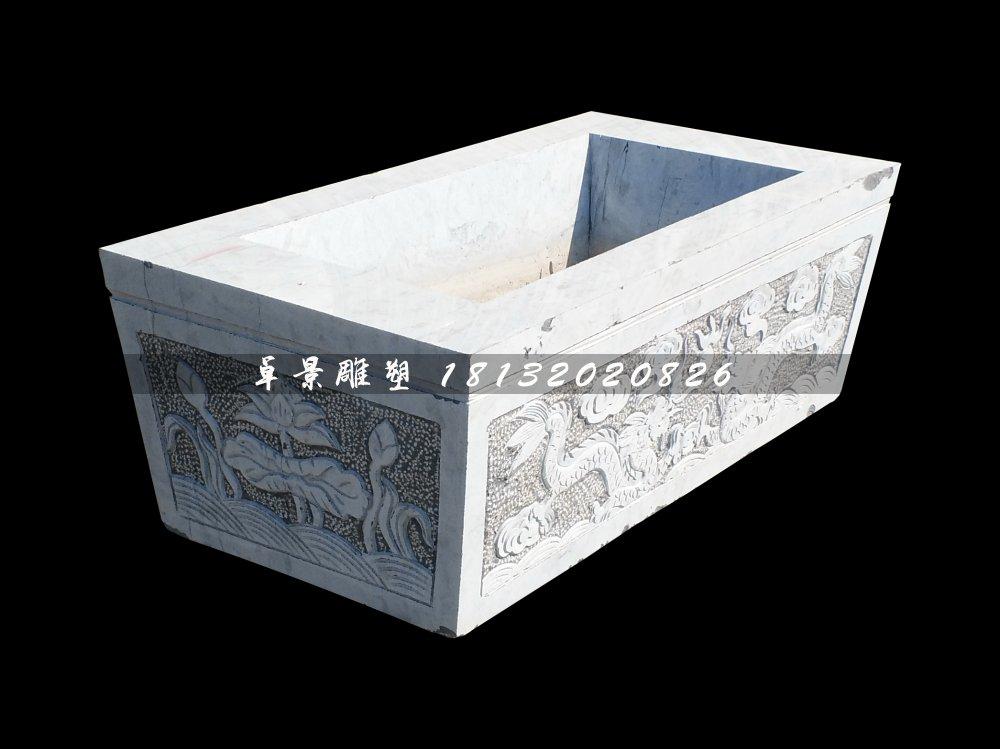 双龙戏珠石浮雕水缸,方形水缸石雕