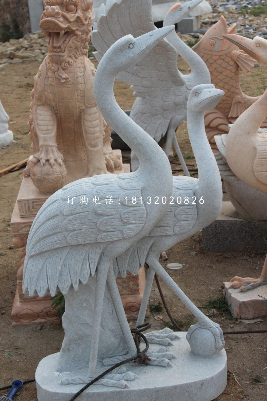 两只丹顶鹤雕塑汉白玉仙鹤石雕