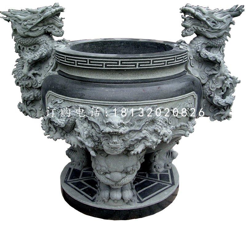 龙头香炉石雕青石寺庙石香炉