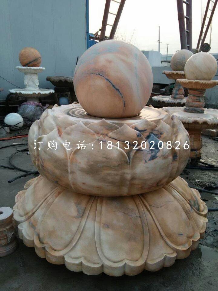 莲花台风水球石雕晚霞红风水球雕塑
