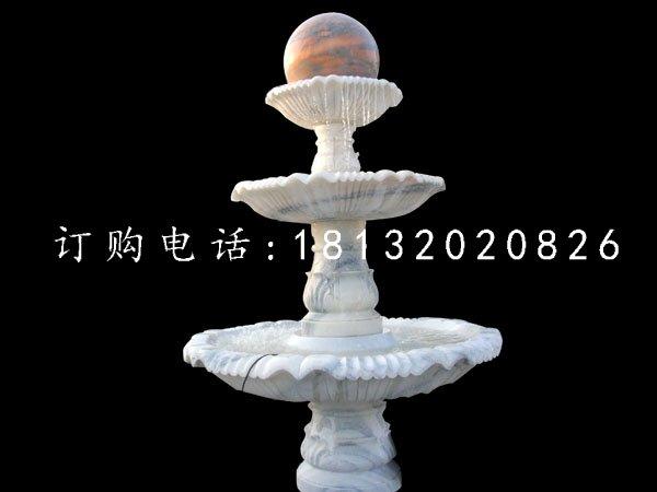 风水球喷泉雕塑草白玉喷泉石雕