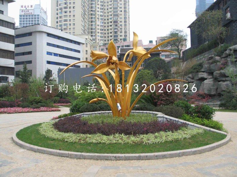 水仙花雕塑小区不锈钢景观雕塑