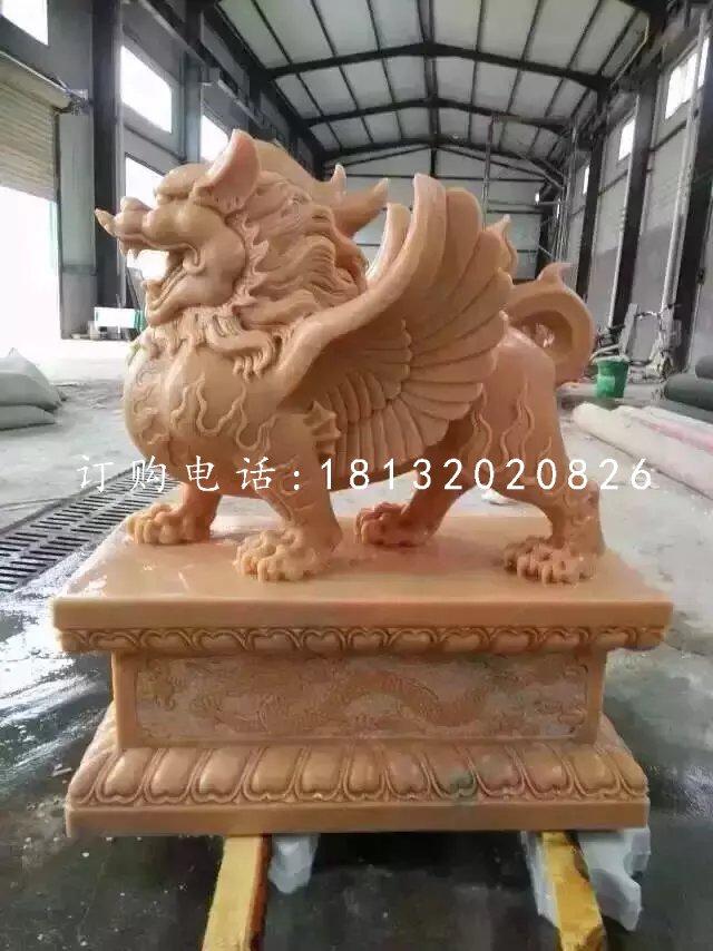 晚霞红貔貅雕塑神兽石雕