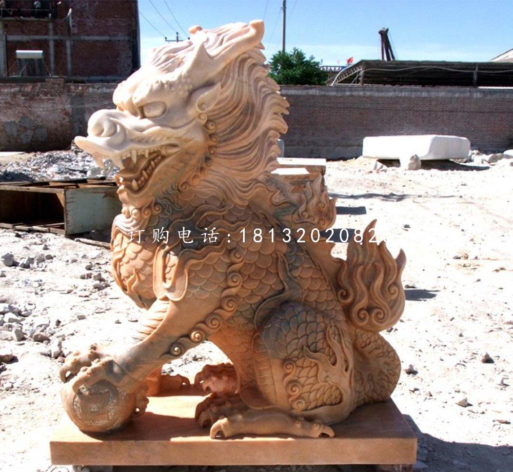 晚霞红麒麟雕塑石雕神兽