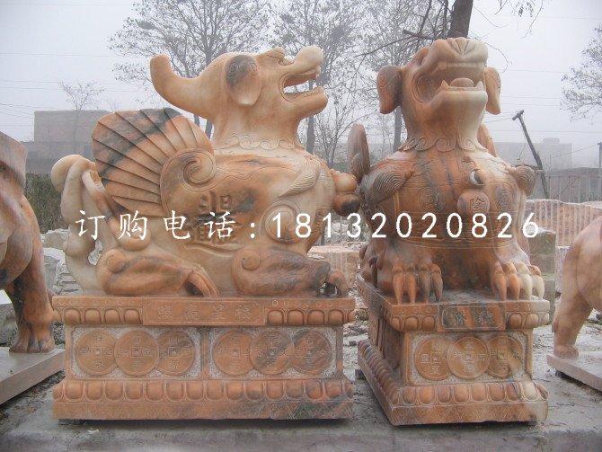 晚霞红石雕貔貅招财进宝神兽雕塑