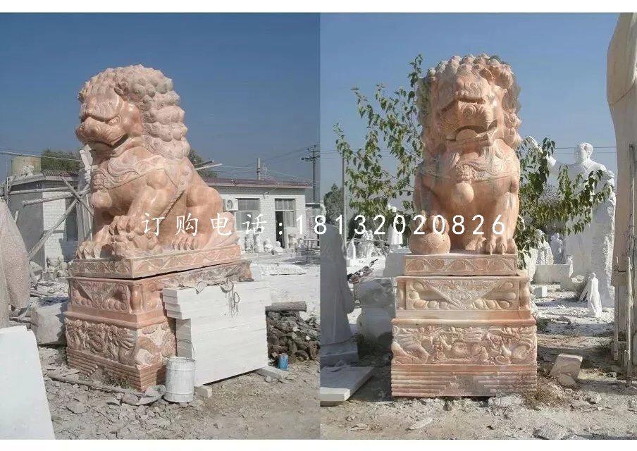 晚霞红石狮子北京狮子石雕