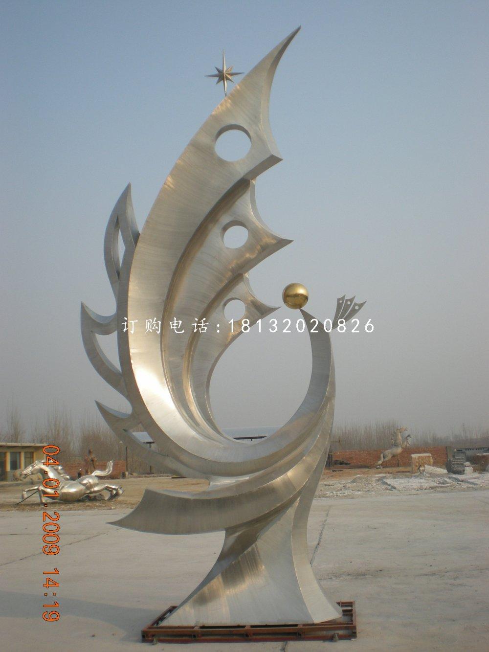 不锈钢抽象凤凰公园抽象雕塑