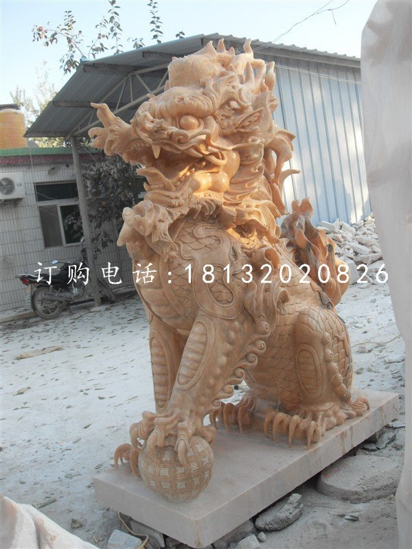 踩球麒麟石雕晚霞红神兽雕塑