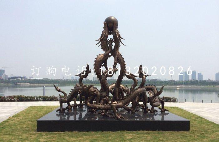 九龙戏珠铜雕广场铜龙雕塑