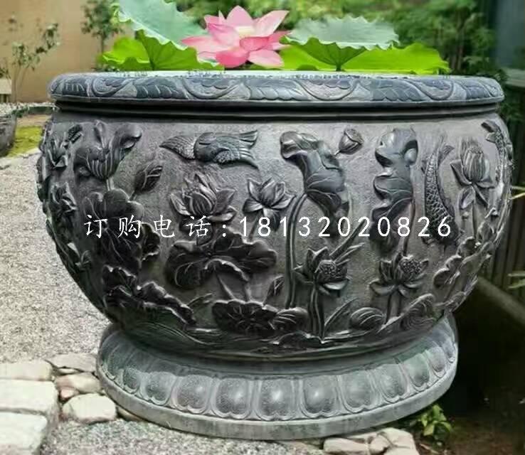 石水缸,荷花鱼浮雕水缸