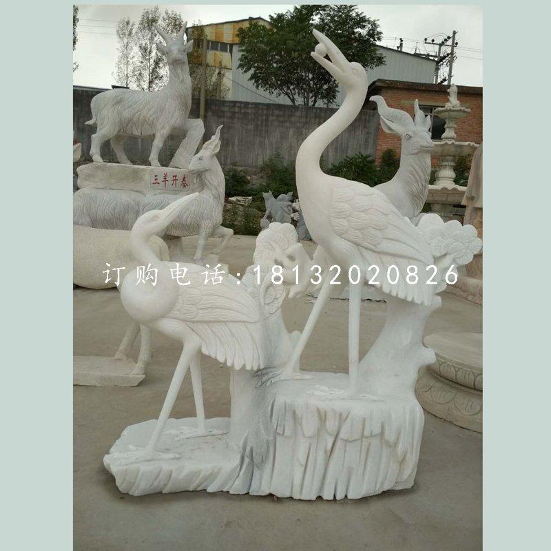 松鹤延年石雕,大理石仙鹤雕塑