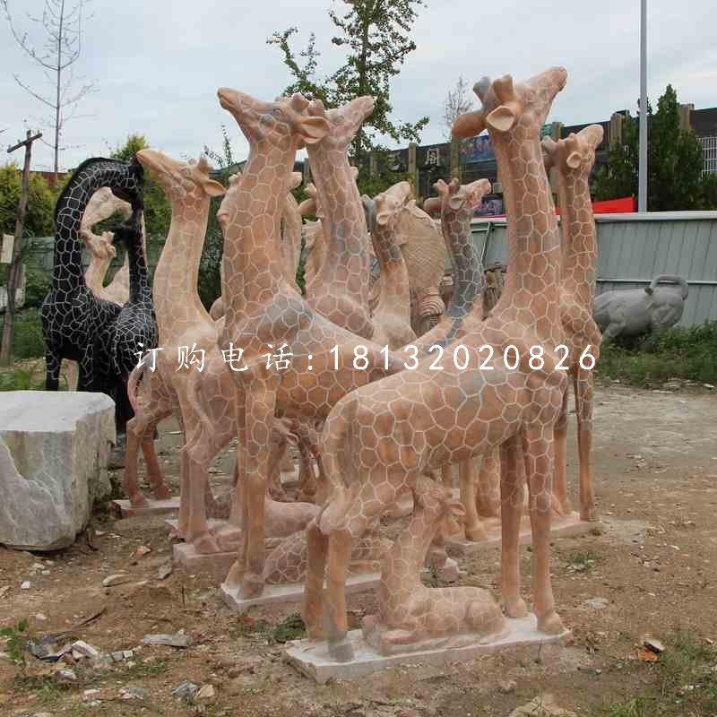 长颈鹿石雕,公园晚霞红动物雕塑