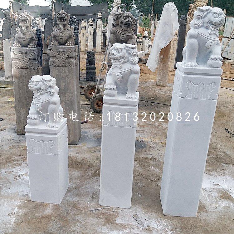 汉白玉拴马柱,广场拴马桩石雕
