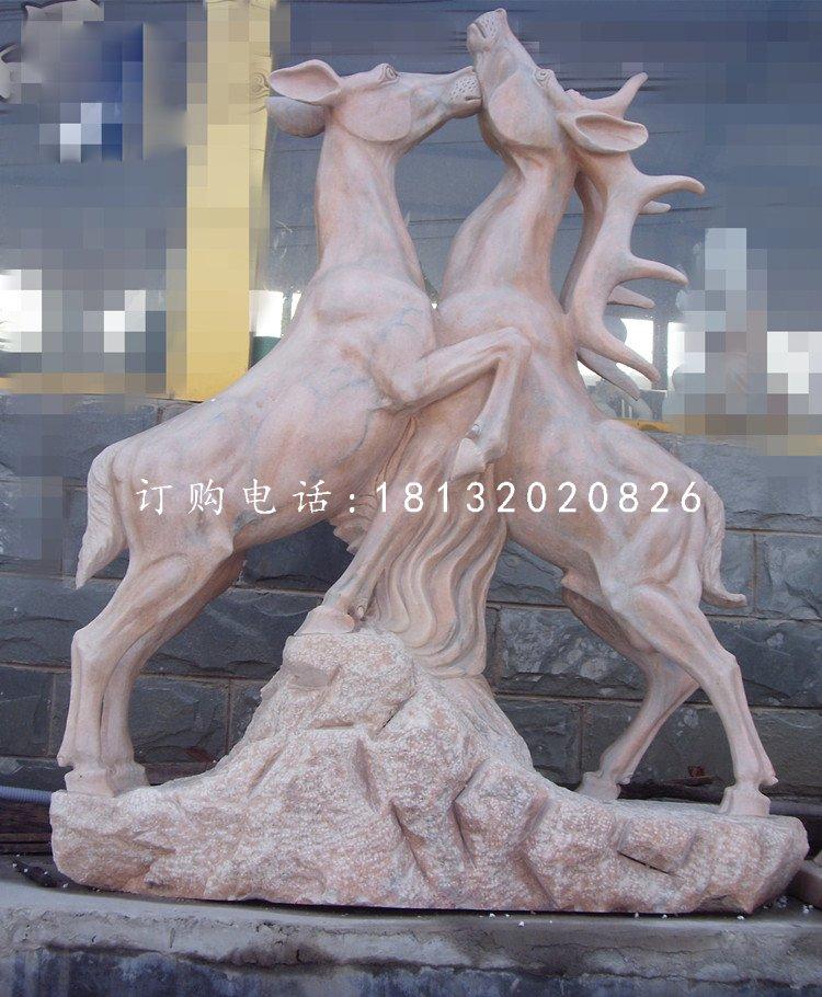 两只鹿石雕,晚霞红动物雕塑