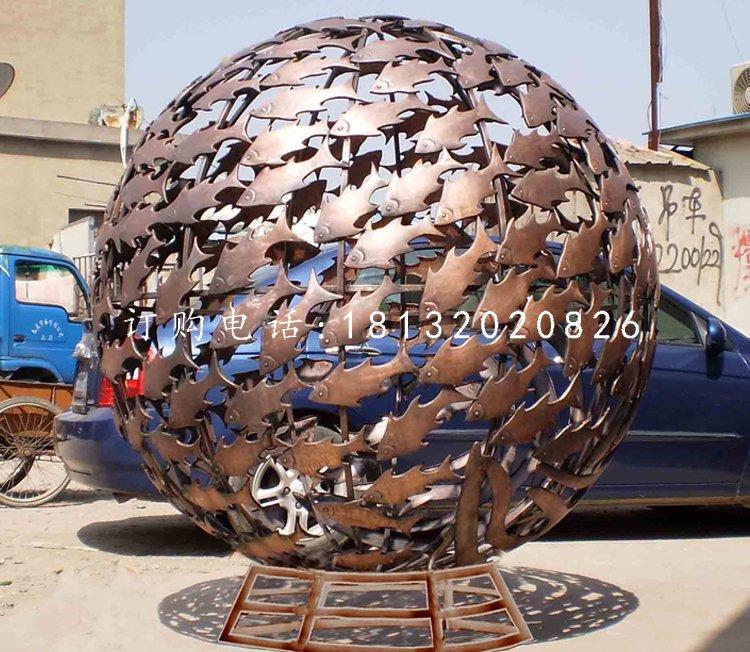 小鱼镂空球,不锈钢景观雕塑