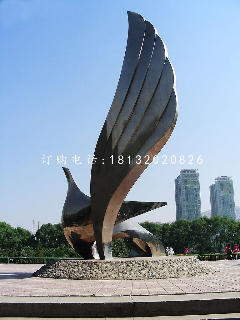 展翅鸽子雕塑,不锈钢广场雕塑
