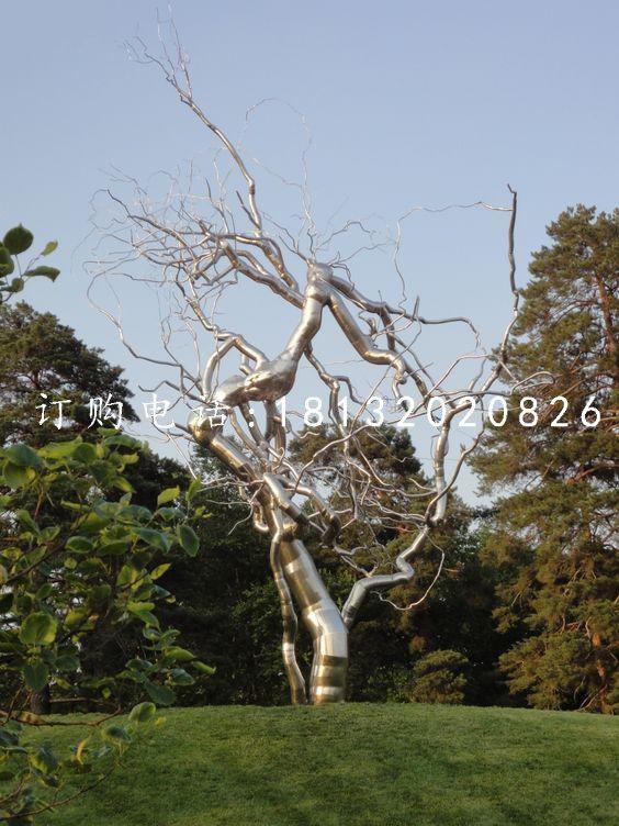 不锈钢树根雕塑,公园景观雕塑