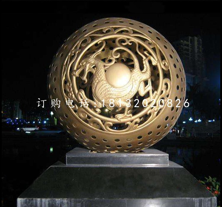 广场镂空球雕塑,景观铜雕