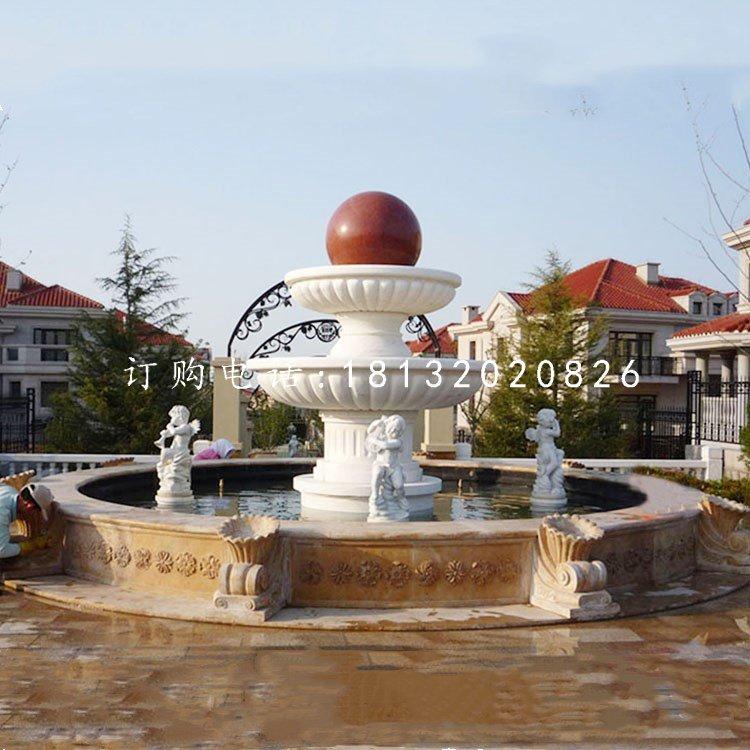 风水球喷泉,小区景观石雕