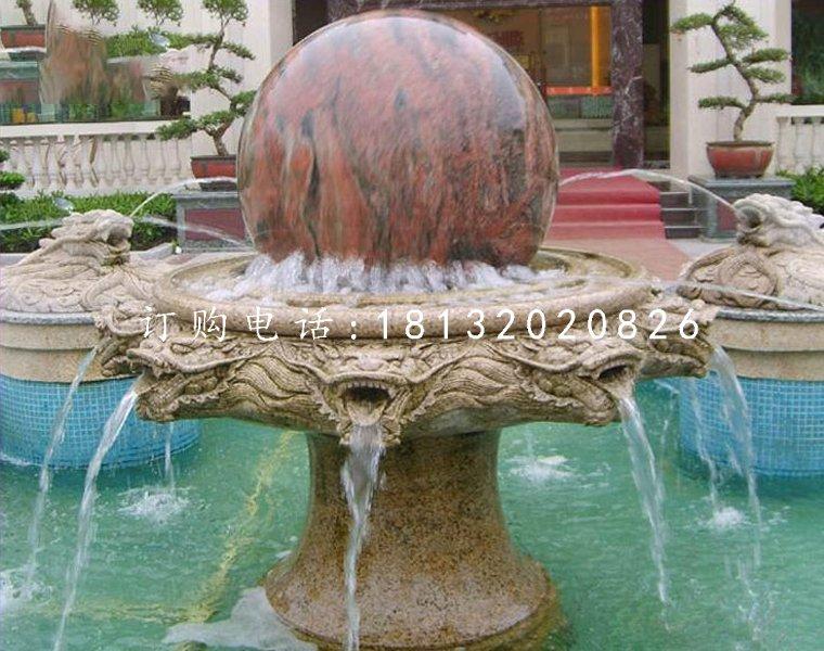 风水球喷泉石雕,小区景观石雕