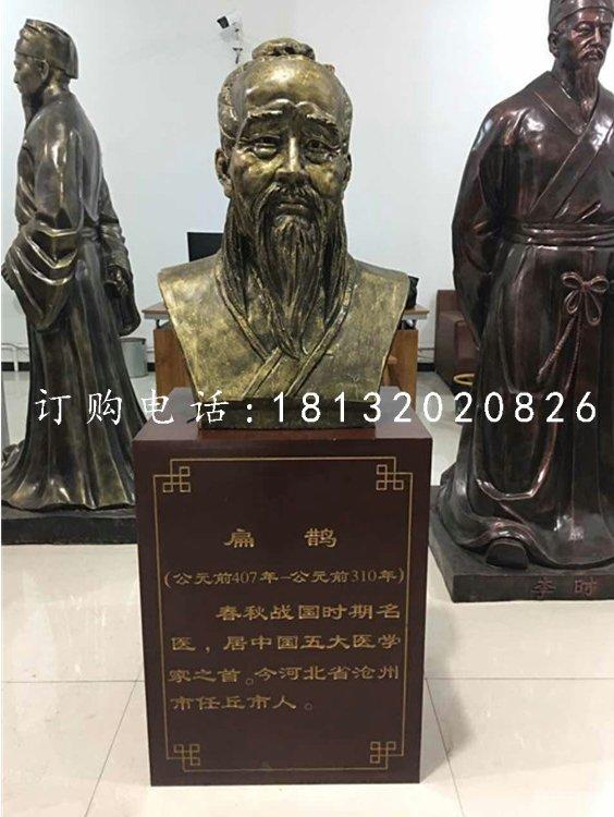扁鹊胸像铜雕,医学名人铜雕