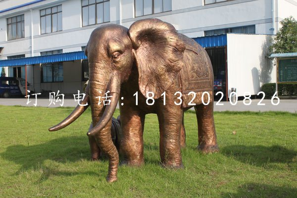 大象铜雕,公园动物雕塑