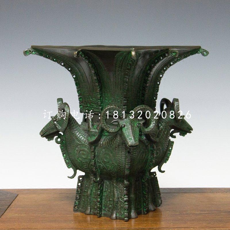 四羊方尊铜雕,仿古青铜雕塑