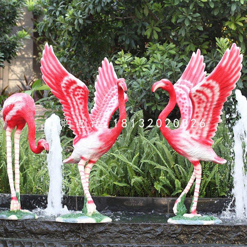 火烈鸟雕塑,玻璃钢动物雕塑