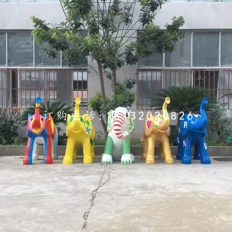玻璃钢彩绘大象,商场美