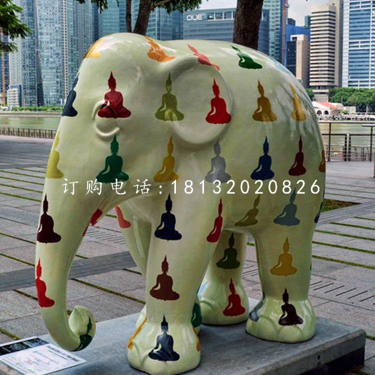 玻璃钢彩绘大象,商场美陈雕塑