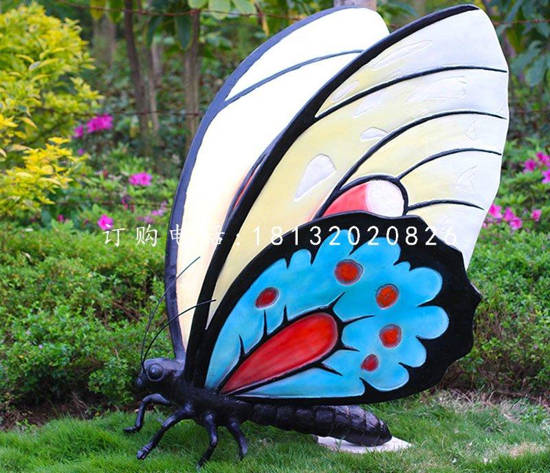 彩绘蝴蝶雕塑,玻璃钢动物