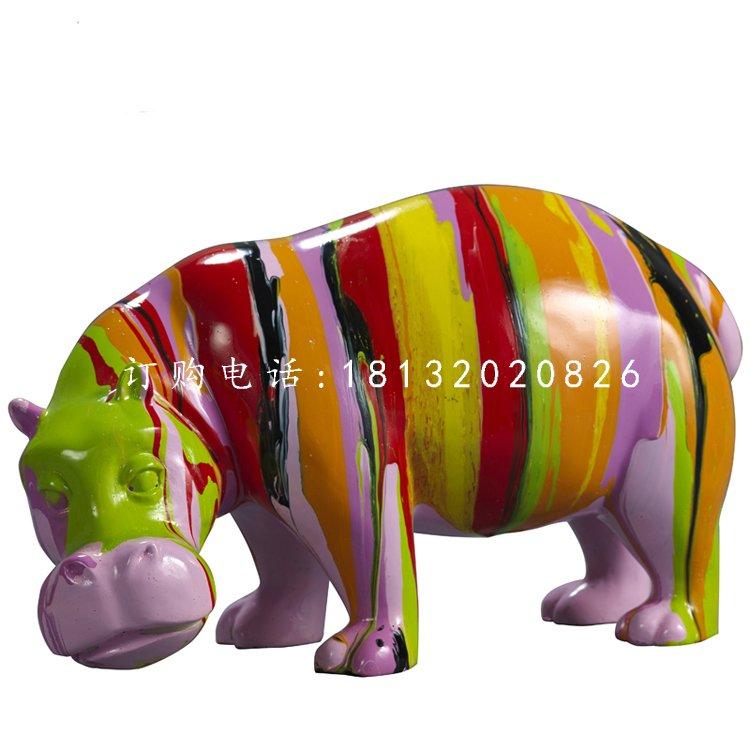 彩绘河马雕塑,玻璃钢动物