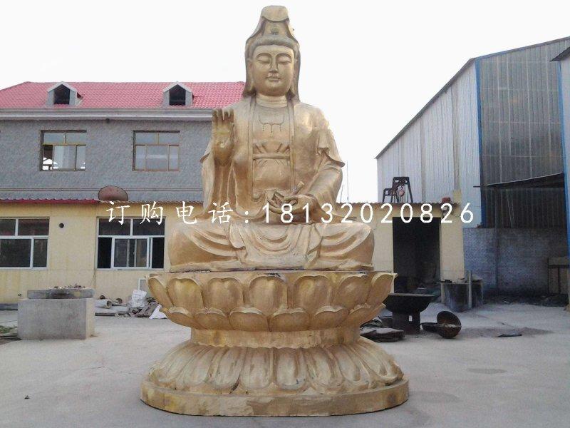 坐式铜观音,大型菩萨雕塑