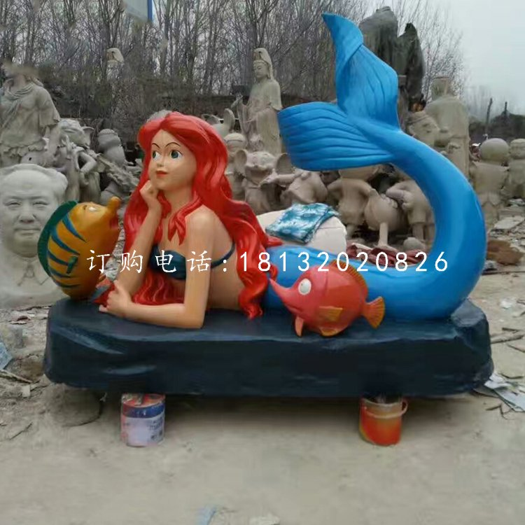 趴着的美人鱼雕塑,玻璃钢卡通雕塑