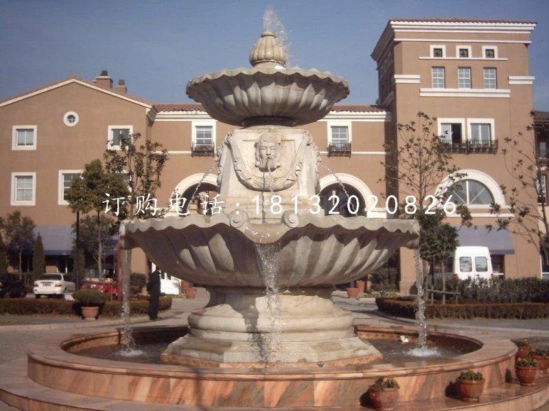 别墅喷泉雕塑石雕两层