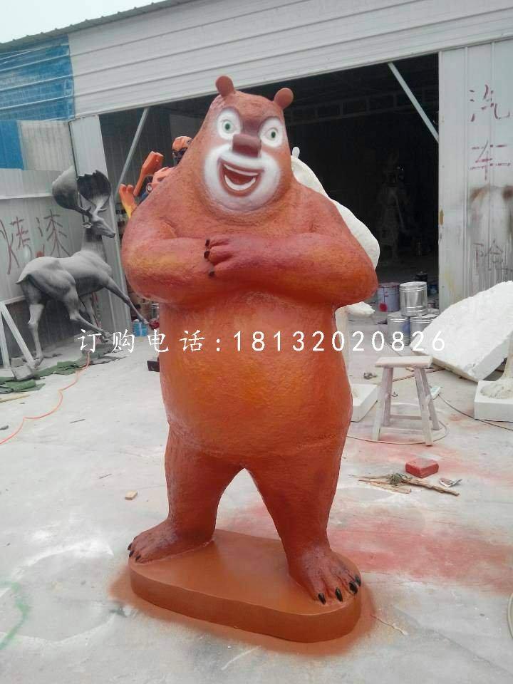 玻璃钢熊大熊二光头强雕塑,卡通人物雕塑