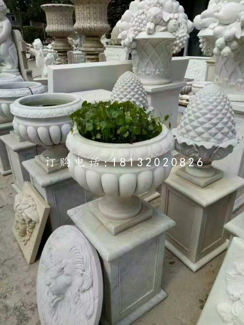 汉白玉花盆石雕别墅石