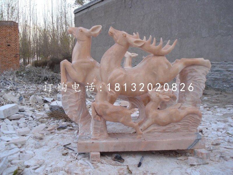 梅花鹿石雕晚霞红动物雕塑
