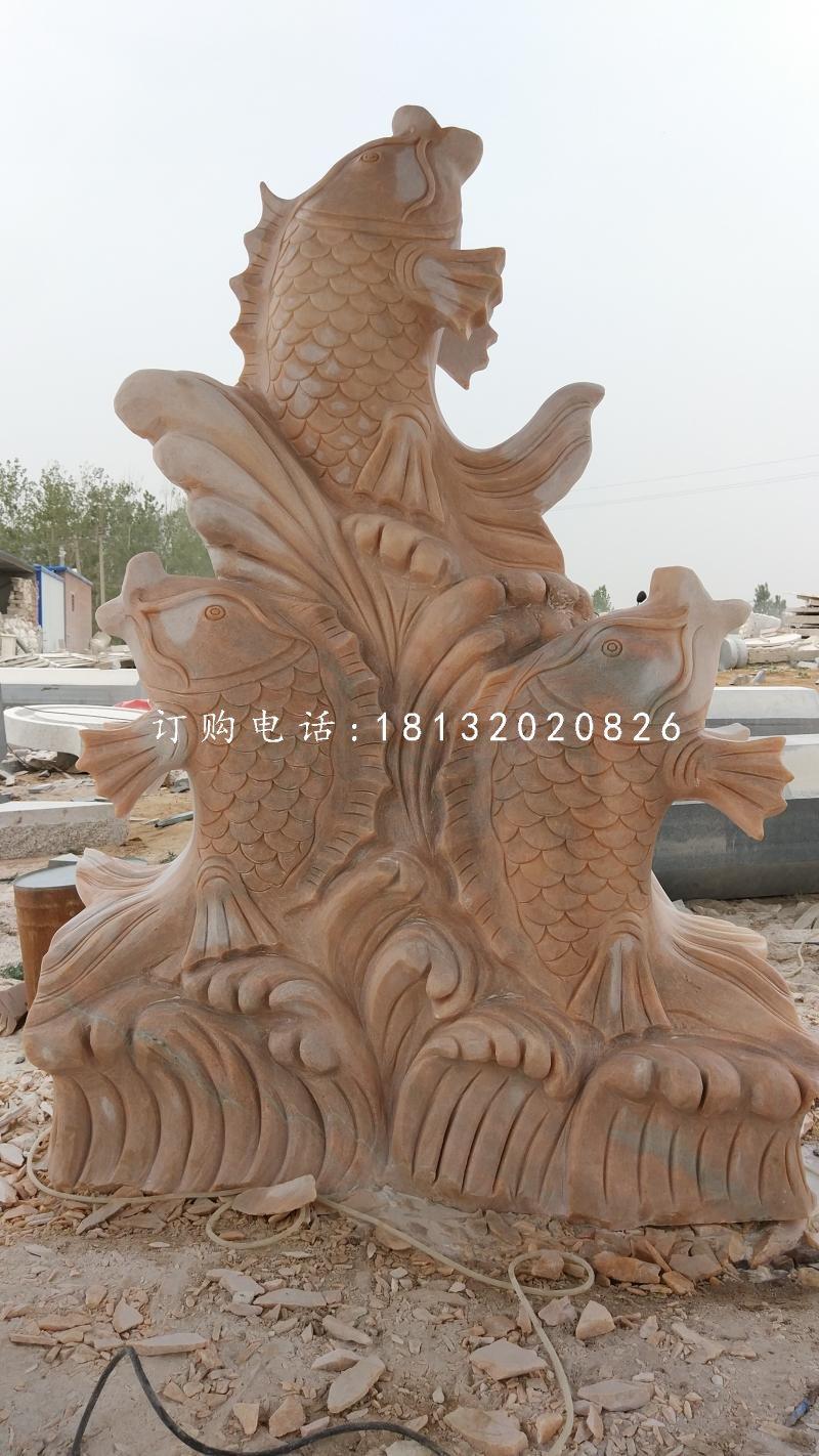 喷水鱼石雕,公园景观石雕