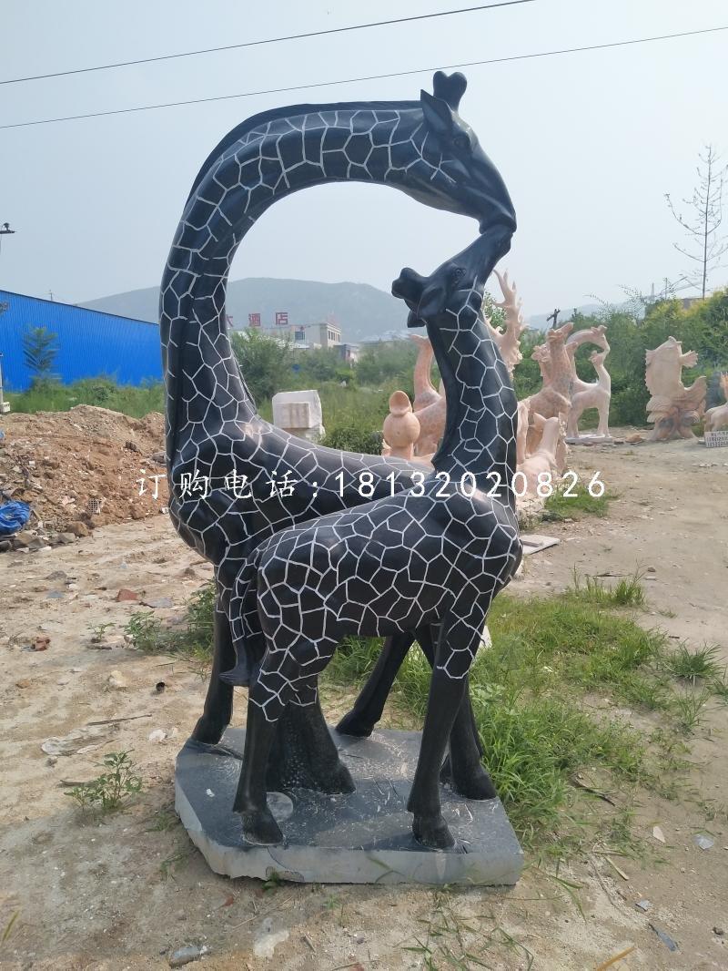 亲嘴鹿石雕,青石动物雕塑