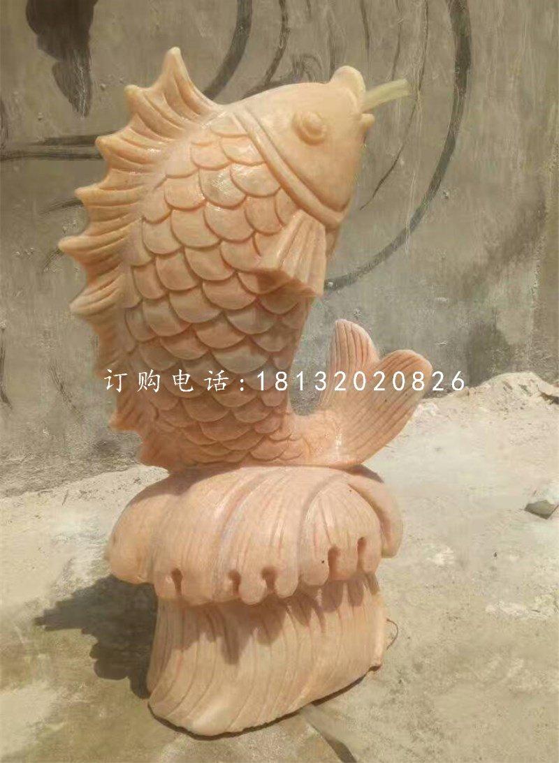 石雕鱼,晚霞红石雕喷水鱼